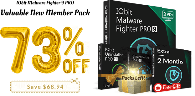 IObit Malware Fighter 7 PRO New Member Pack (85% Off)</p><p>3 PCs, 1-Year Subscription</p><p>
